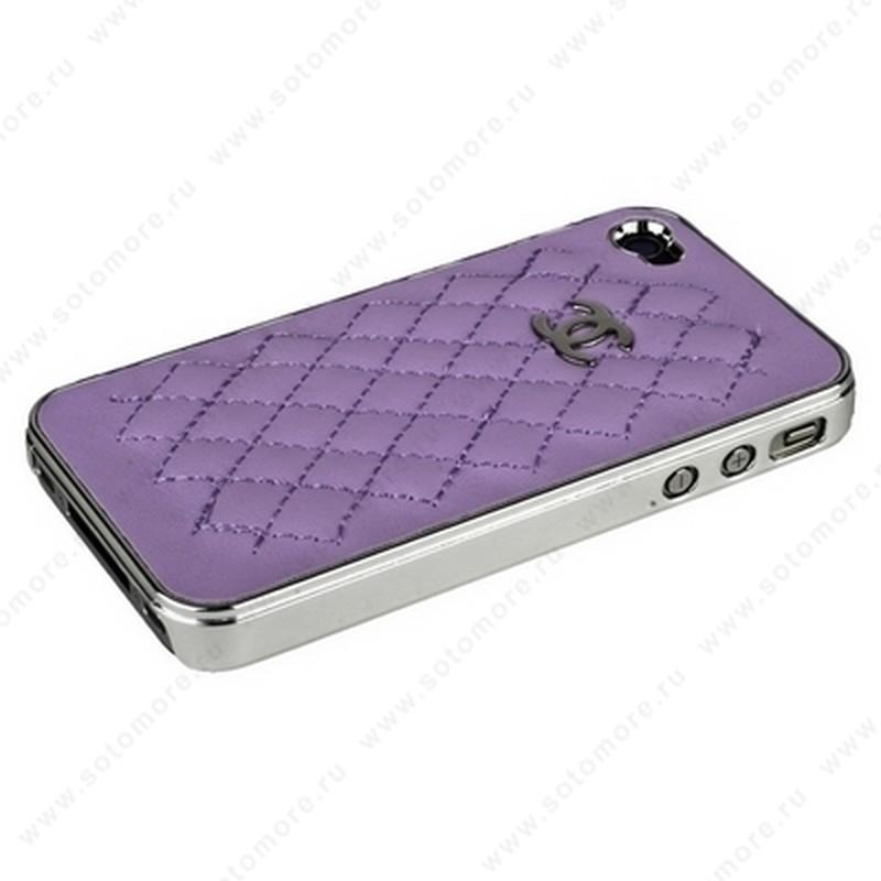 Накладка CHANEL для iPhone 4s/ 4 серебряная+сиреневый кожа