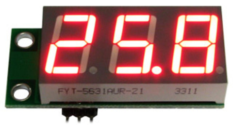 EK-SVH0001UR-100, вольтметр 0..99,9 В, ультра яркий красный индикатор