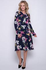 """<p>Платье из лёгкой ткани сделает Вас женственной и недосягаемой. Отрезное по талии на резинке, юбка """"полусолнце"""", рукав длинный, ворот - бант. Отличное решение для романтичной особы! (Длины: 44-46=104см; 48-50=106см)&nbsp;</p>"""