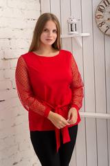 Иветта. Блуза Pluse Size с прозрачным рукавом. Красный