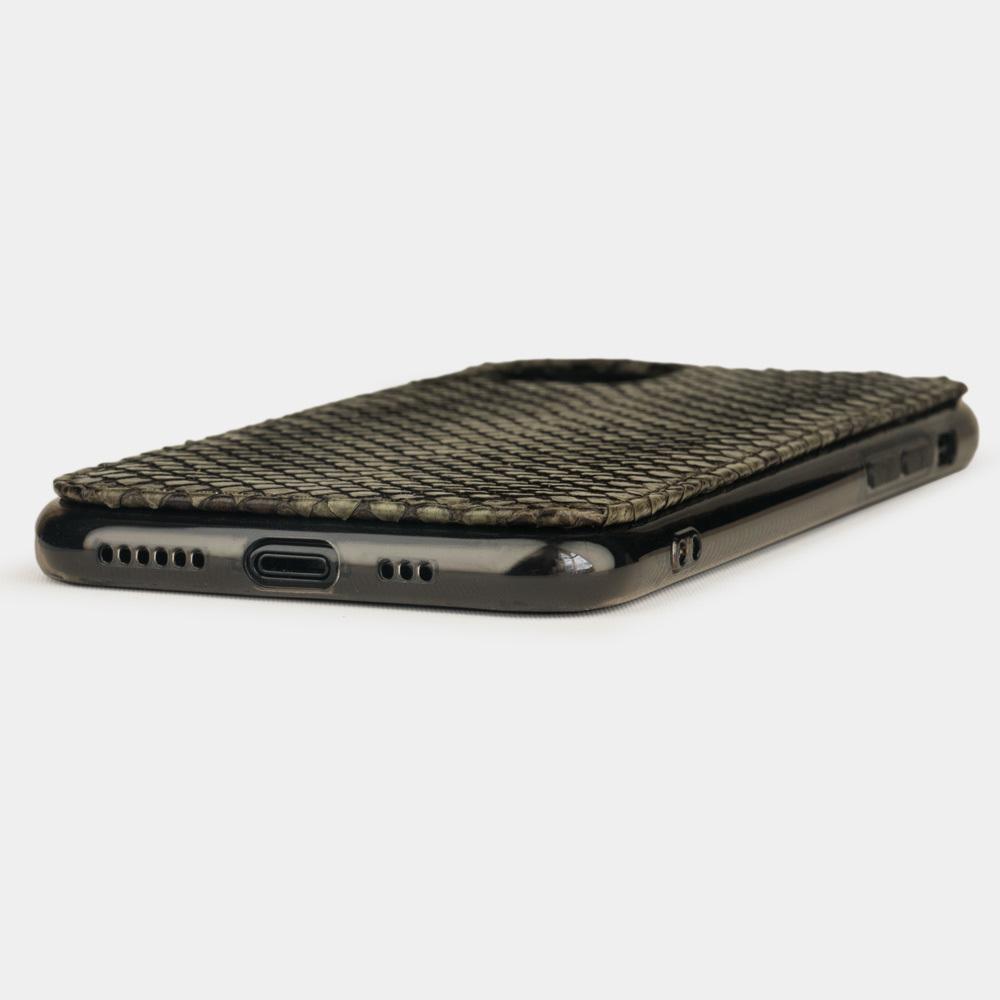 Чехол-накладка для iPhone 11 Pro Max из натуральной кожи питона, зеленого цвета