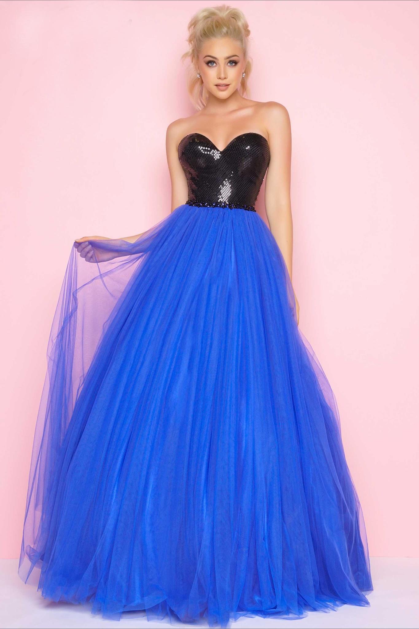 Mac Duggal 16207 платье в пол, лиф украшен камнями, юбка длинная и пышная,цвет:синий