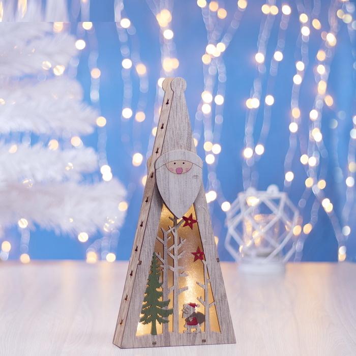 Декор деревянный с подсветкой треугольная фигура Дед Мороз и ёлочки фото