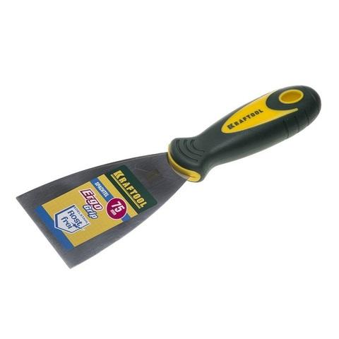 Шпательная лопатка KRAFTOOL с 2-компонент ручк, профилиров нержав полотно, 75мм