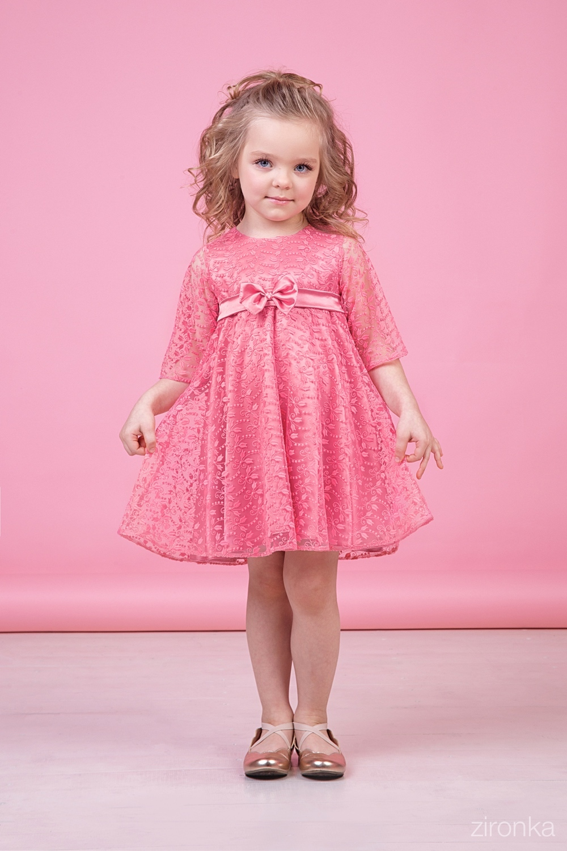 Платье коралловое для девочки 38-9014-2