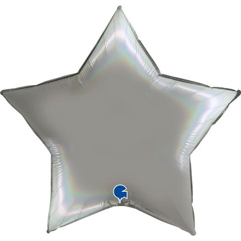 Воздушный шар звезда большая, Платиновое серебро, голография, 91 см