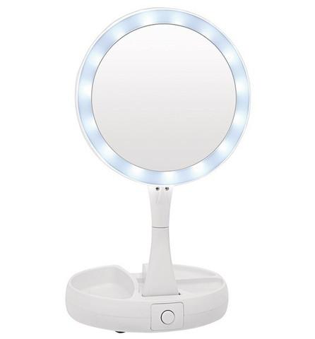 Складное зеркало для макияжа с подсветкой и органайзером