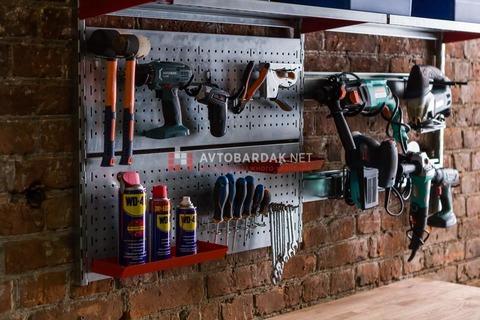 Стеллажи для инструментов. Набор полок, перфопанелей и рейлингов (1620х800 мм)