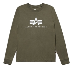 Лонгслив Alpha Industries Basic Logo Olive (Зеленый)