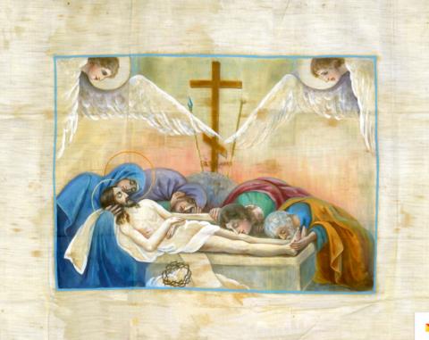 Икона Положение во гроб Иисуса Христа (Антиминс) на дереве на левкасе мастерская Иконный Дом