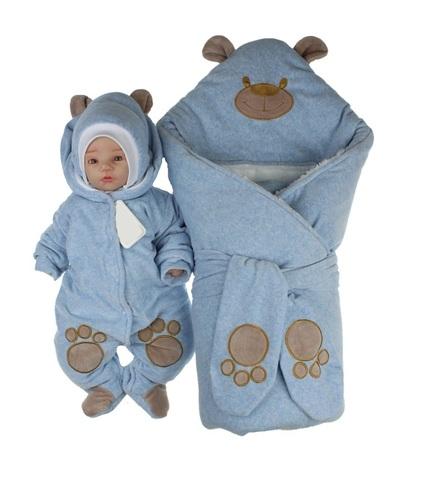 Набор на выписку из роддома зимний Little Bear голубой меланж