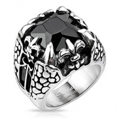 Солидный высокий мужской перстень из нержавеющей ювелирной медицинской хирургической стали 316L с крупным чёрным камнем с когтями и символами власти