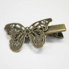 Основа для заколки с филигранной бабочкой, 40х27 мм  (цвет - античная бронза)