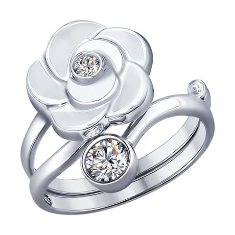 94012183- Кольцо-трансформер из серебра с фианитами