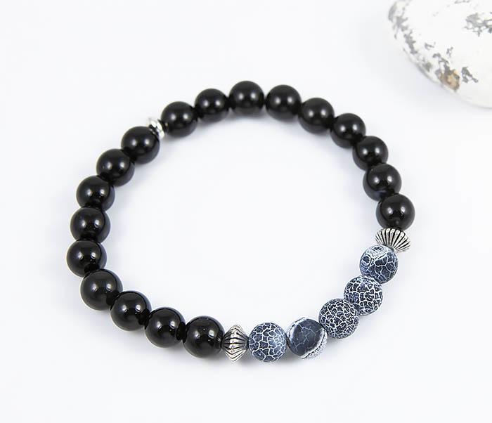Boroda Design, Мужской браслет из черного обсидиана и африканского агата