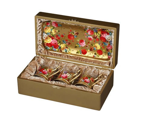 Zhostovo tea glass holders in wooden box - set of 3 tea glass holders and hand forged tray SET04D-667785838