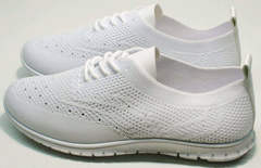 Женские текстильные кроссовки летние Small Swan NB-821 All White.