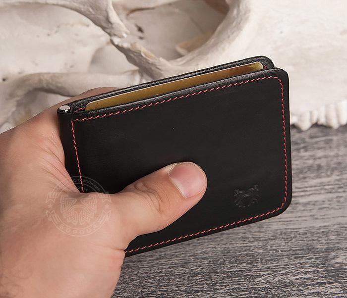 WB108-6 Кошелек с зажимом для денег из гладкой черной кожи.»Boroda Design» фото 07