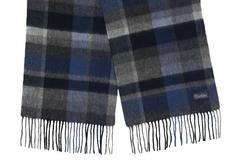 Шерстяной шарф, мужской клетчатый темный 31262