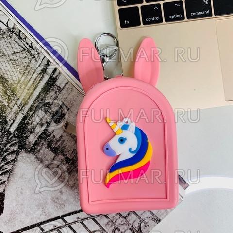 Детская силиконовая ключница-монетница-брелок с ушами зайца Единорог (цвет: розовый)