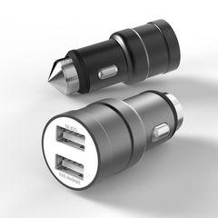 АЗУ JC001 USB 5V metal (2.4A+1A) black
