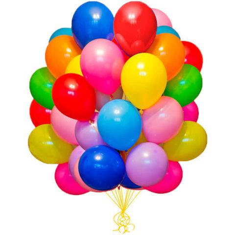 100 воздушных шаров 25 см.