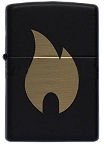 Зажигалка Zippo Flame с покрытием Black Matte, латунь/сталь, чёрная, матовая, 36x12x56 мм123