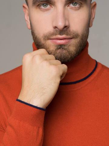 Мужской джемпер оранжевого цвета из 100% кашемира - фото 3