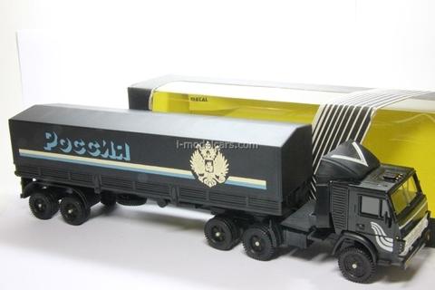 KAMAZ-5410 with semitrailer ODAZ with awning Russia black Elecon 1:43