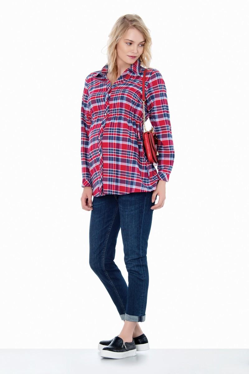 Фото джинсы для беременных EBRU, прямые, высокий эластичный бандаж с регулировкой объема от магазина СкороМама, синий, размеры.