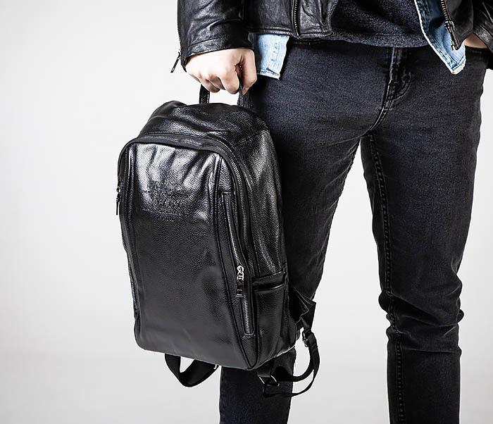 BAG558 Кожаный мужской рюкзак для города фото 02