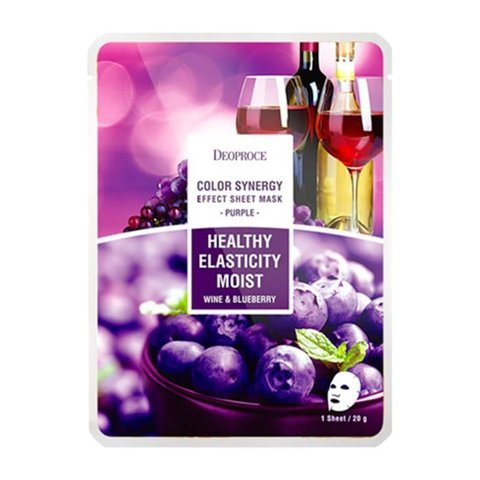 Тканевая маска с экстрактом черники и красного винограда Deoproce sheet mask purple