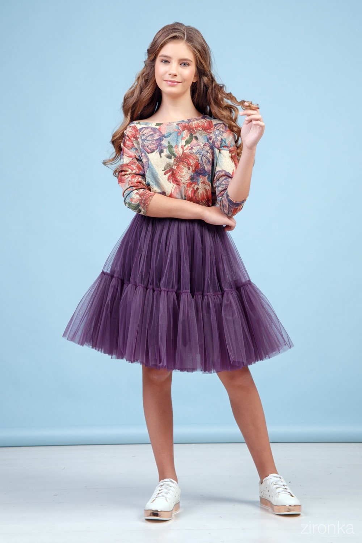Комплект (блузка, юбка) фиолетовый для девочки 64-9002-1