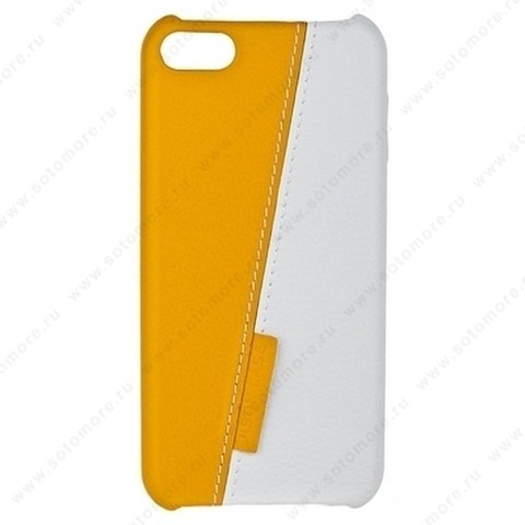Накладка Jisoncase для iPod touch 5 двухцветная белая/желтая JS-TH5-01H