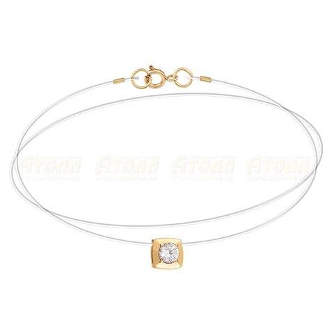 Золотой бегунок- ромб на леске-невидимке с замками из золота 585 пробы