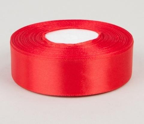 Лента атласная (размер 25 мм х 30 м) Цвет: красная