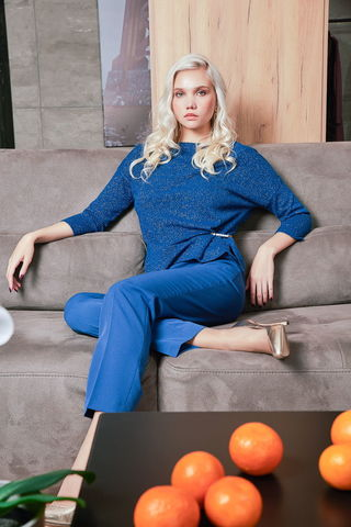 Фото джемпер синего цвета с переливающимся блеском - Джемпер В621-415 (1)