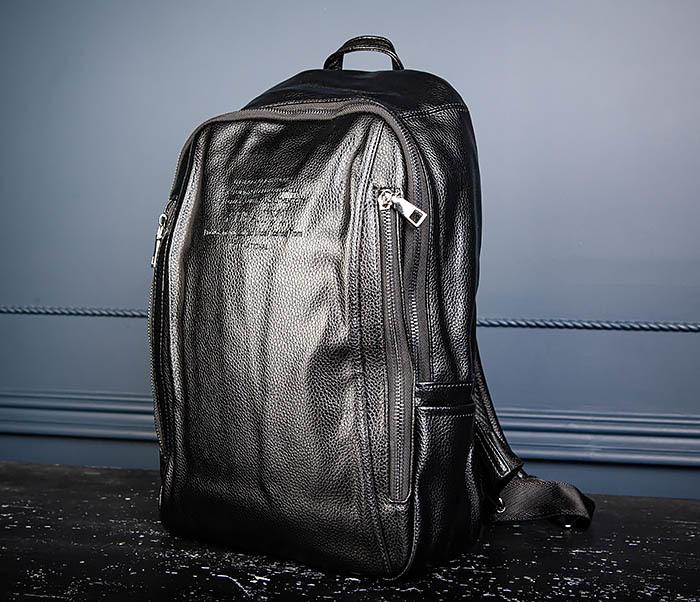 BAG558 Кожаный мужской рюкзак для города фото 04