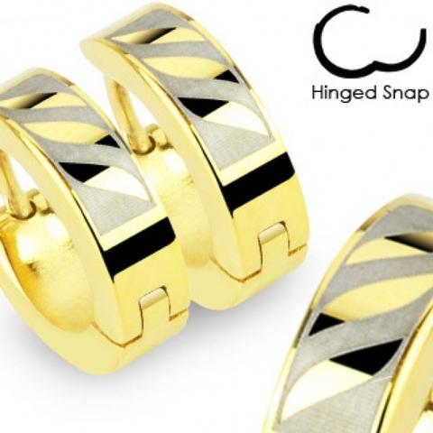 Недорогие золотистые серьги кольца из нержавеющей ювелирной стали SPIKES SE2061