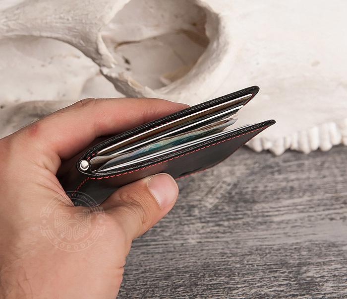 WB108-6 Кошелек с зажимом для денег из гладкой черной кожи.»Boroda Design» фото 08