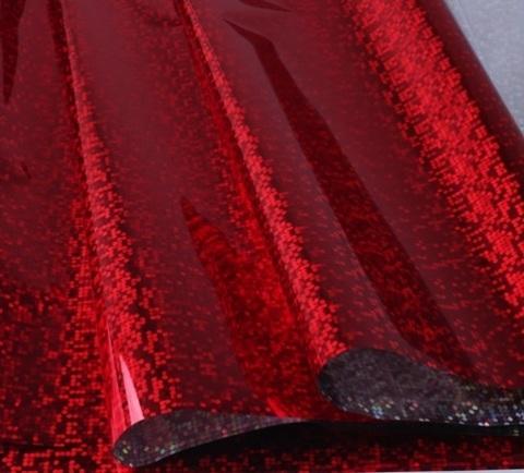 Пленка голография (размер: 70см*8,3м, 30мкм), цвет: красный