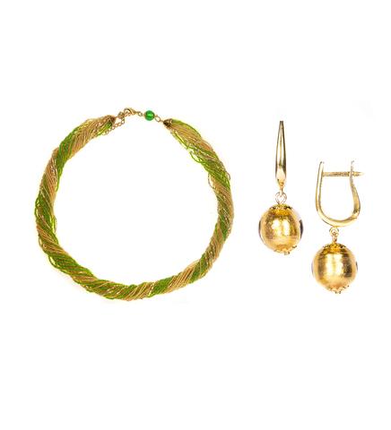 Комплект украшений зелено-золотистый (серьги-бусины, ожерелье из бисера 24 нити)