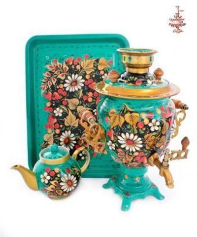 Самовар «Ромашки в бирюзе» электрический формой желудь 3 л в наборе с подносом и чайником