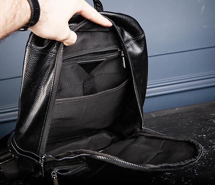 BAG558 Кожаный мужской рюкзак для города фото 08