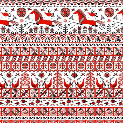 Скачущие лошади, птицы, солнце. Мезенская роспись. (Дизайнер Irina Skaska)