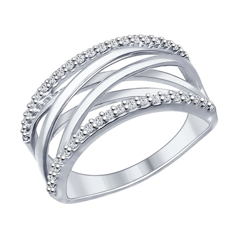 94012032- Кольцо из серебра с фианитами