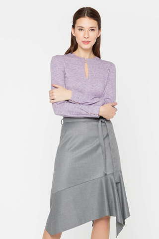 Фото стильная юбка в полоску с ассиметричным краем и поясом - Юбка Б130-103 (1)