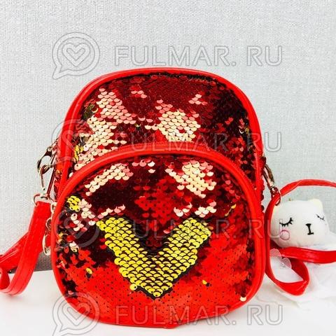 Сумка-рюкзак трансформер маленькая красная с пайетками меняет цвет Красная-Золотистая
