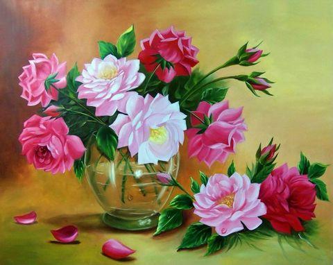 Алмазная Мозаика 30x40 Букет розовых цветов в прозрачной вазе