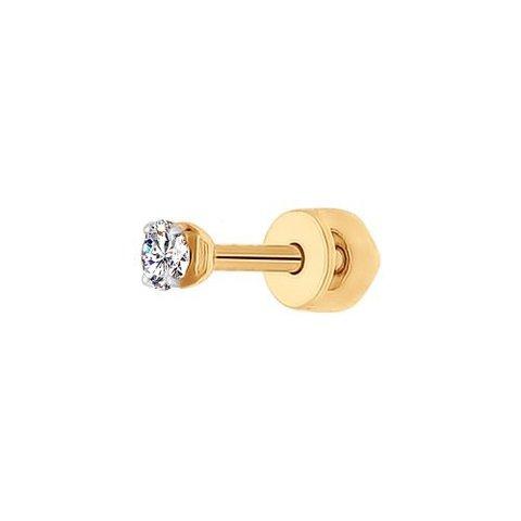 170022-Одиночная серьга-пусет из золота 585 пробы